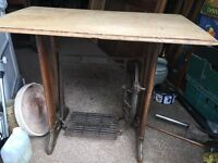 Singer machine base with oak top