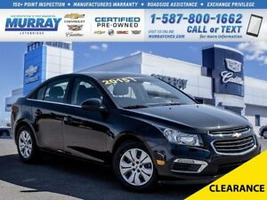 2015 Chevrolet Cruze 1LT**Low kms!  Remote Keyless Entry!**