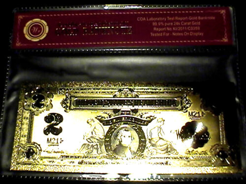 99.9% 24K GOLD 1899 $2 BILL US BANKNOTE IN PROTECTIVE SLEEVE W COA FREE SHIPPING