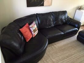 Leather 4 seater corner sofa with footstool