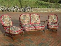 Ercol 2 seater settee and 2 off arm chairs