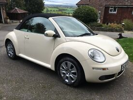 VW BEETLE CONVERTIBLE- 2007/57- CREAM WITH CREAM LEATHER, ELECTRIC ROOF, AIR CON, HEATED SEATS