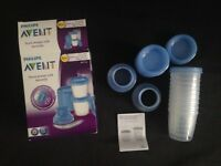 Avent- breast milk storage cups - new