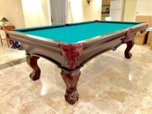8' LE BARON SLATE POOL TABLE INSTALLED WITH ACCESSORIES