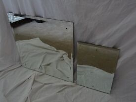 Pair of Wall Mirrors Matching with Bevelled Edges and Fittings included