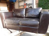 Dark brown genuine leather two seater sofa settee