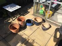 Assortment of garden pots varies sizes 3 ceramic