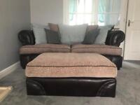 DFS 3 seater 4 seater sofa and large footstool
