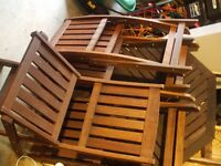 teak table and 4 folding chairs