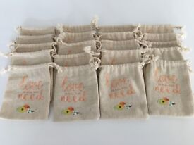Wedding Printed Linen Favour Bags x 20