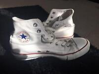 White Converse High Tops Size 7