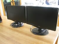 VIEW SONIC TWIN COMPUTER MONITORS SCREEN SIZE 16 X 9 VIEWING SIZE PLEASE SEE PHOTO OF THE SPEC