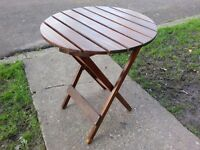 BEAUTIFUL ANTIQUE/ART DECO/COLLECTIBLE SOLID OAK FOLD UP TABLE WITH BRASS LOCK,POLISHED TEAK OIL