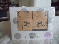 Paperchase Stamp Set Boxed has Butterflies Unicorns Rainbows