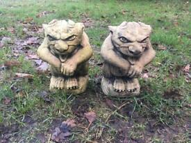 Pair Gargoyle Garden Ornament