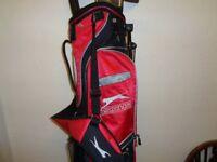 Slazenger golf bag and clubs