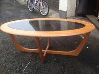 VINTAGE OVAL 1970s COFFEE TABLE/SMOKE GLASS