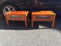 2 wooden bedside tables with frosted glass inserts