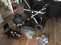 3 in 1 Isafe baby pram bundle with isofix base and car seat.