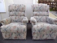Two matching pair of manual reclining armchairs, recliner chairs, Swindon, could deliver localish