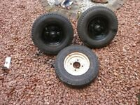 trailer diy parts wheels and tyres and 550 kg suspension units with hubs