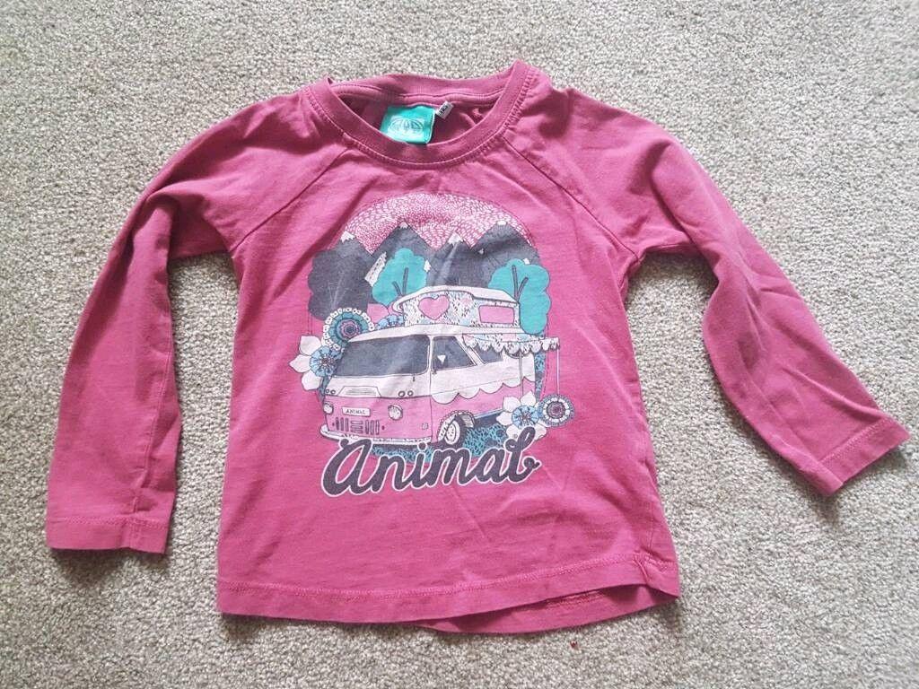 Animal tshirt long sleeve pink 3-4 years