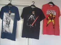 Mens Star wars and Iron man t shirts