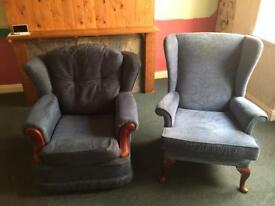 3 seater settee with two chairs