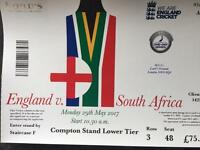 2 x tickets for England vs South Africa one day, Lords, 29th May