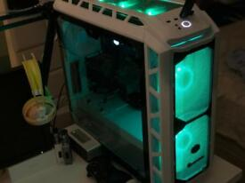 Custom Liquid cooled Gaming PC with 29 ultrawide monitor, mouse, keyboard VR ready