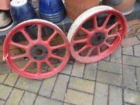2 x 3.50x19 Vintage artillery type wheels