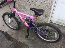 Girls Apollo Saxon dual suspension bike in pink and purple age 5-8