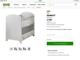 Ikea grey cot bed