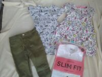 Girls clothes bundle age 5-6 New School blouses + skinny jeans + dresses