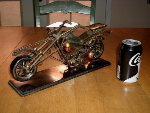"CHOPPER MOTORCYCLE STATUE, METAL CONSTRUCTION,14"" LONG, BORN IN USA TUNE"