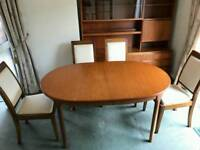 G plan dinning extendable table and chairs