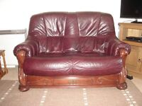 2 Seater Leather & Wood Settee