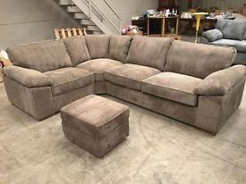 Brown / grey jumbo chord corner sofa with storage footstool