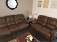 Leather 2 & 3 Seater Sofa with Recliners