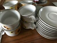 Retro 70s Denby 'Minstrel' Design Cups and Saucers