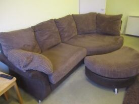 Large comfortable corner sofa/lounger with footstool