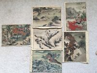 6 Chinese Antique Paintings On Silk