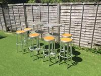Set of 2 tall tables and 6 stools