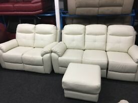 New/Ex Display Maple LazyBoy Leather 2 Seater + 3 Seater Recliner Sofas + Footstool