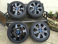 "Vauxhall Corsa 4x100 15"" SXI/SRI Alloy Wheels & Tyres Gloss Black Blue Griffin DELIVERY AVAILABLE"