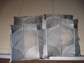4 silver grey pattern matching cushion with zip cushion covers 50 x 50