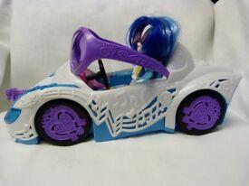 Motor Car, Sunglasses, DJ Pon-3 My Little Pony Equestria Girls Dolls Toy Bundle.