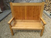 TALL PEW / SETTLE . Delivery possible. 2 AVAILABLE , also OLD CHURCH PEWS , PINE MONKS BENCH & TABLE