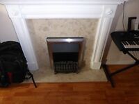 Fireplace: Surround, marble hearth and back panel