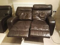 Leather electric reclining sofa and armchair